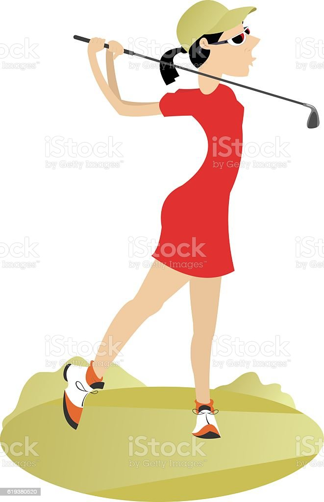 Good day for playing golf vector art illustration