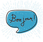Hand drawn speech bubble with words Bon jour, hello in French