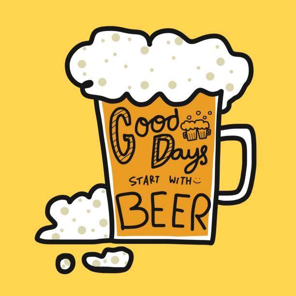stockillustraties, clipart, cartoons en iconen met goede dagen beginnen met bier woord op koud bierglas - fresh start yellow