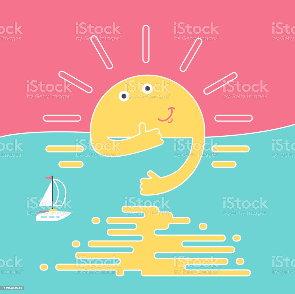 Good evening, sunset sun with smile and thumb up behind river shows thumb up. Sky, river, smiling sun and little ship or boat on the evening minimal abstract flat style vector illustration good evening sunset sun with smile and thumb up behind river shows thumb up sky river smiling sun and little ship or boat on the evening minimal abstract flat style vector illustration - stockowe grafiki wektorowe i więcej obrazów abstrakcja royalty-free