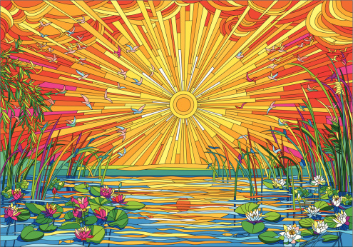 Vector illustration of beautiful landscape at sunset in stained glass style.