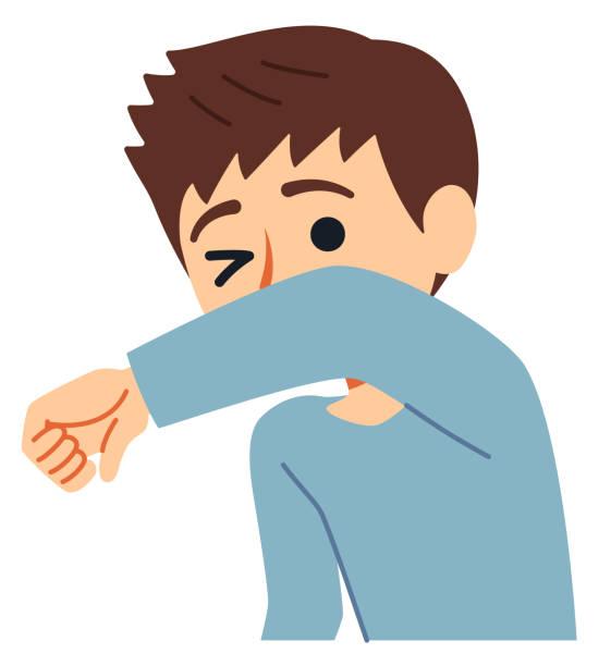 ilustrações de stock, clip art, desenhos animados e ícones de a good example of cough etiquette is to cover your mouth and nose with sleeves when you don't have a mask. - da cintura para cima