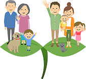 An illustration of a good family standing on a young leaf.
