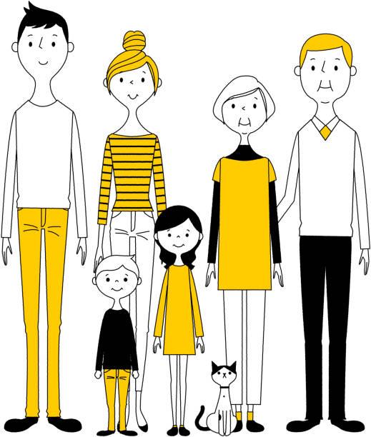 良い家族 - 笑顔 女性点のイラスト素材/クリップアート素材/マンガ素材/アイコン素材