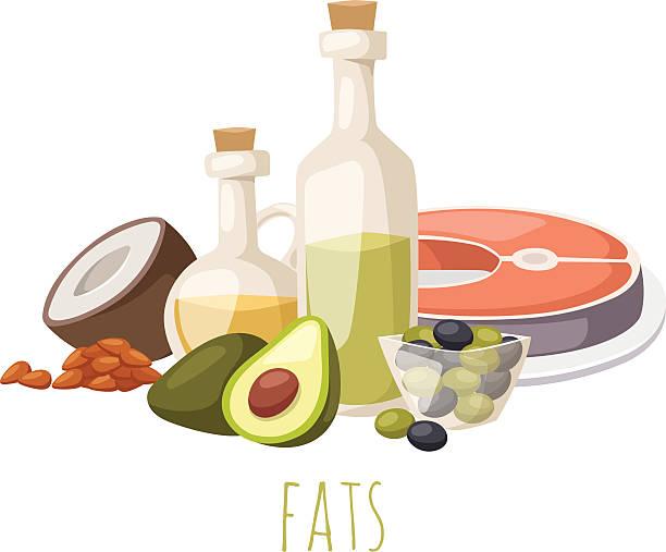bildbanksillustrationer, clip art samt tecknat material och ikoner med good fats food vector illustration - omega 3