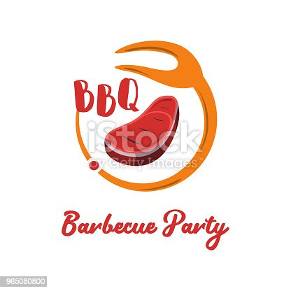 Good Food Logo Icon Restaurant Culinary Kitchen Canteen Catering Design Concept Circle Fork With Barbecue Vector Illustration - Stockowe grafiki wektorowe i więcej obrazów Biznes 965080800