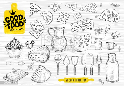 Good food premium market, symbol design, cheese shop, cheese milk vector collection. Milk house products, food shop. cutting board, knife, fork, spoon, rolling pin. Hand drawn vector illustration.