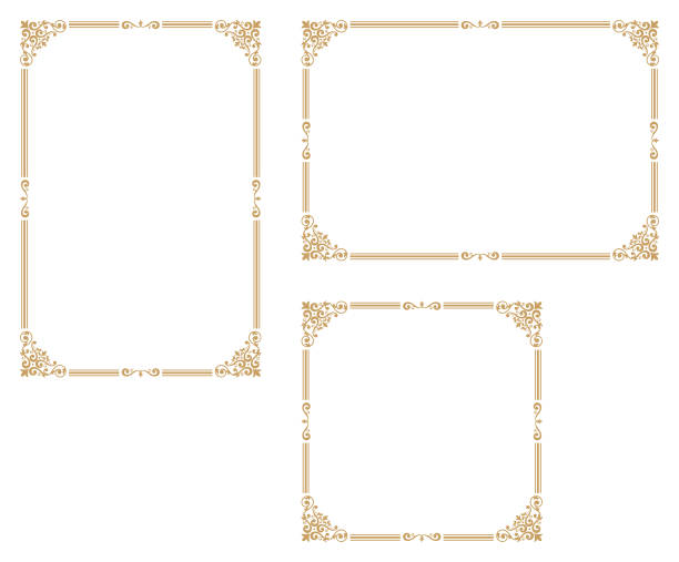 Good frame for A4 size paper.Decorative frame. A frame that gave a change in size to the same design.Certificate frame. frame border stock illustrations