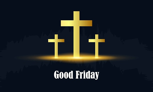 Good Friday. Background with white cross and sun rays in the sky.