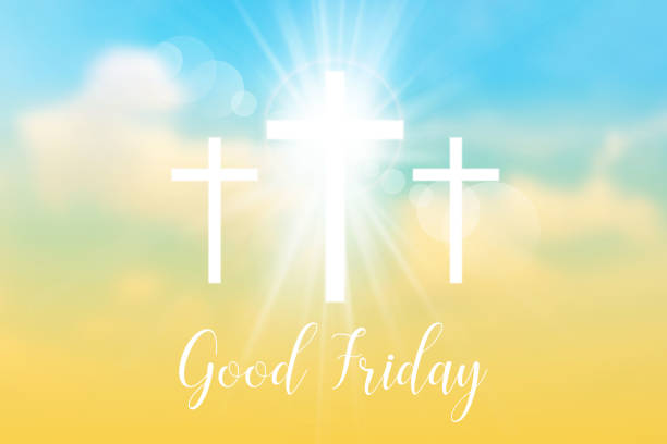 Good Friday. Background with white cross and sun rays Good Friday. Background with white cross and sun rays in the sky. Vector illustration. nu stock illustrations