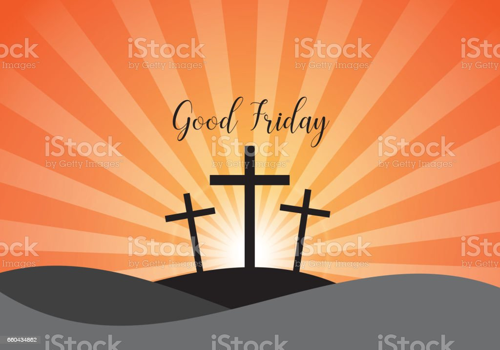 Good Friday. Background with white cross and sun rays vector art illustration