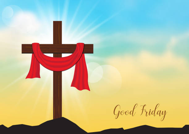 Good Friday. Background with wooden cross and sun rays Good Friday. Background with wooden cross and sun rays in the sky,Vector illustration EPS10. nu stock illustrations