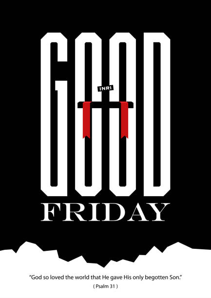 Good Friday Large Text Illustration of a cross in the middle of large size text on the background lent stock illustrations