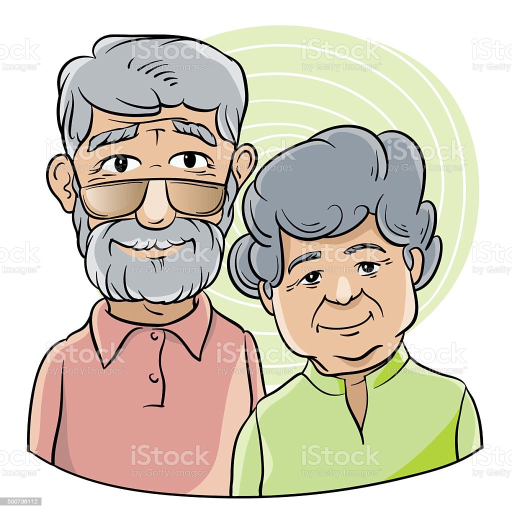 good grandfather and grandmother vector art illustration