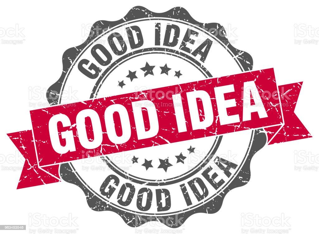 timbre de bonne idée. signe. joint d'étanchéité - clipart vectoriel de Badge libre de droits
