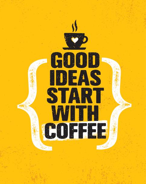 gute ideen beginnen mit kaffee. inspirierende kreative motivation poster angebotsvorlage. vektor-typografie-banner-design - coffee stock-grafiken, -clipart, -cartoons und -symbole