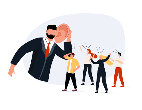 Good listener boss, listen and accept all opinion, suggestion or customer feedback concept, smart businessman trying hard to listen to all colleagues advice. Teambuilding, feedback from workers.