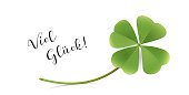 Good luck Card with shamrock, New Year and Congratulation Card,