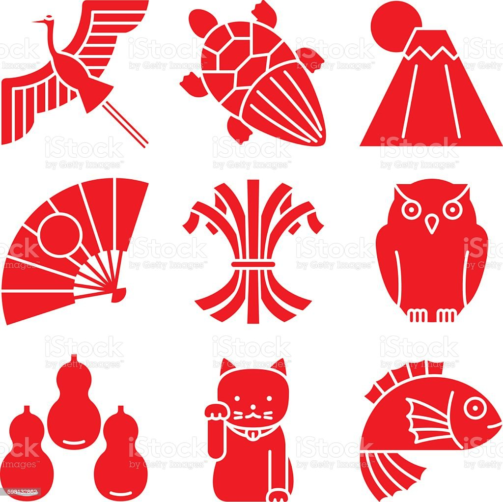 good luck charms japanese style stock vector art more images of rh istockphoto com japanese vector pattern japanese victories