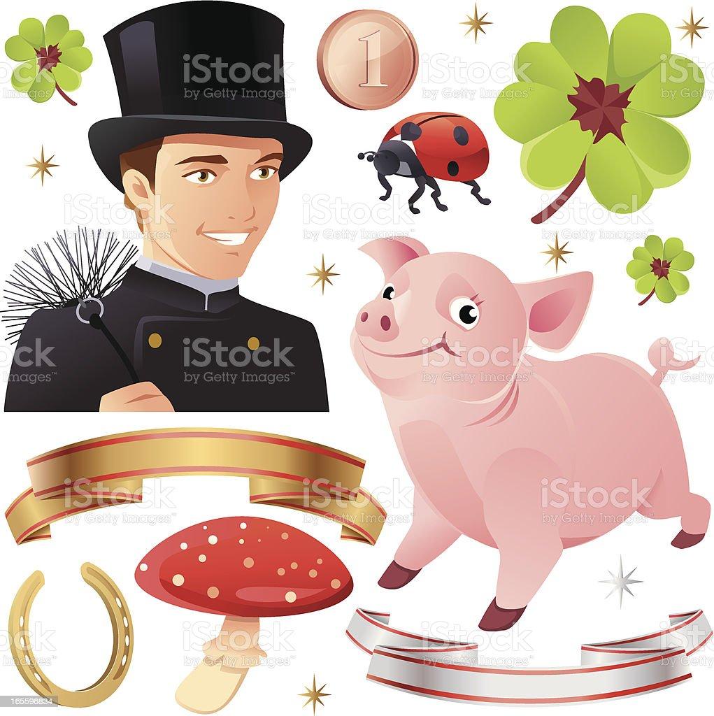 Buena suerte Collection con cerdos y deshollinador ilustración de buena suerte collection con cerdos y deshollinador y más banco de imágenes de celebración - acontecimiento libre de derechos