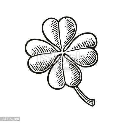 Good luck four leaf clover. Vintage vector engraving illustration