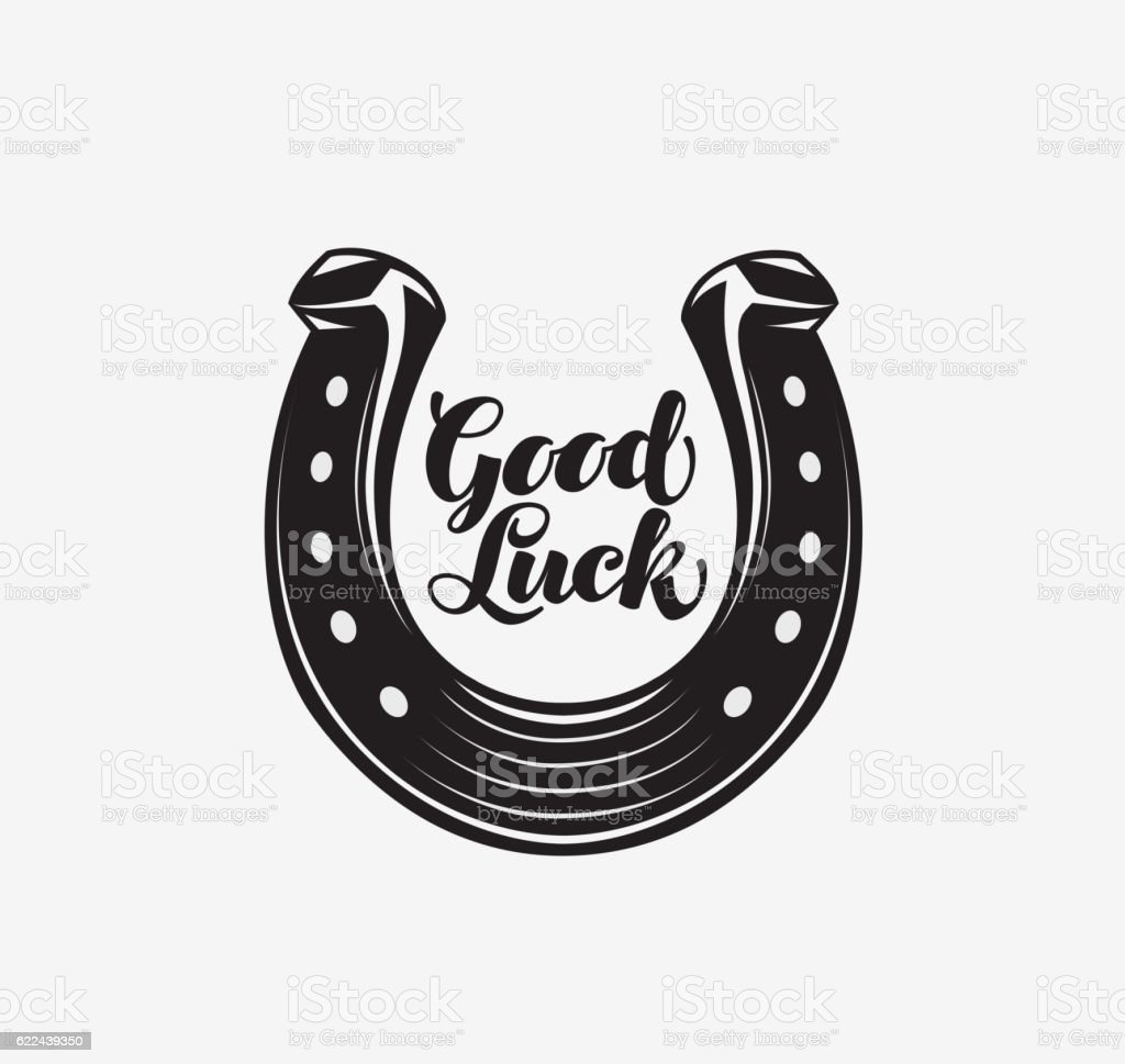 Good luck. Horseshoe with inscription. Vector symbol or icon vector art illustration