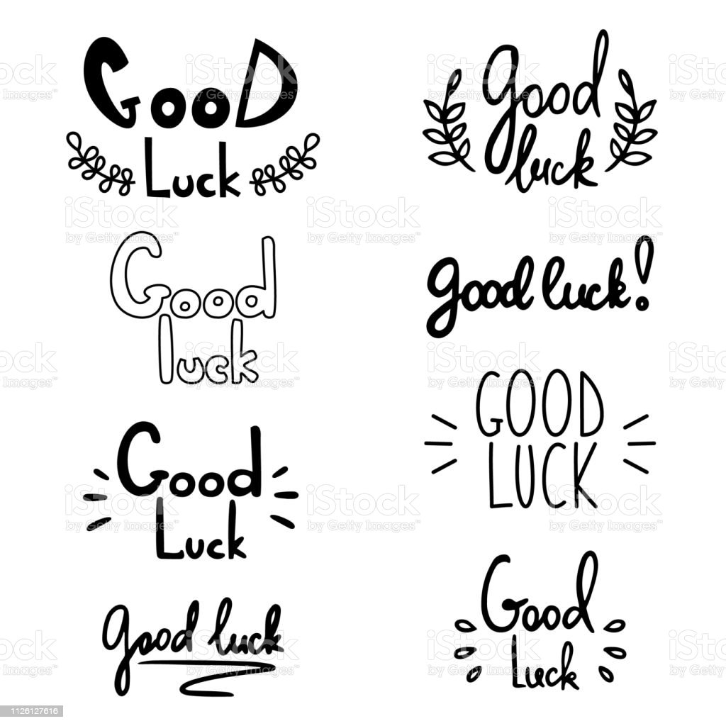 Good Luck Lettering Vector Illustration With Lucky Greeting ...