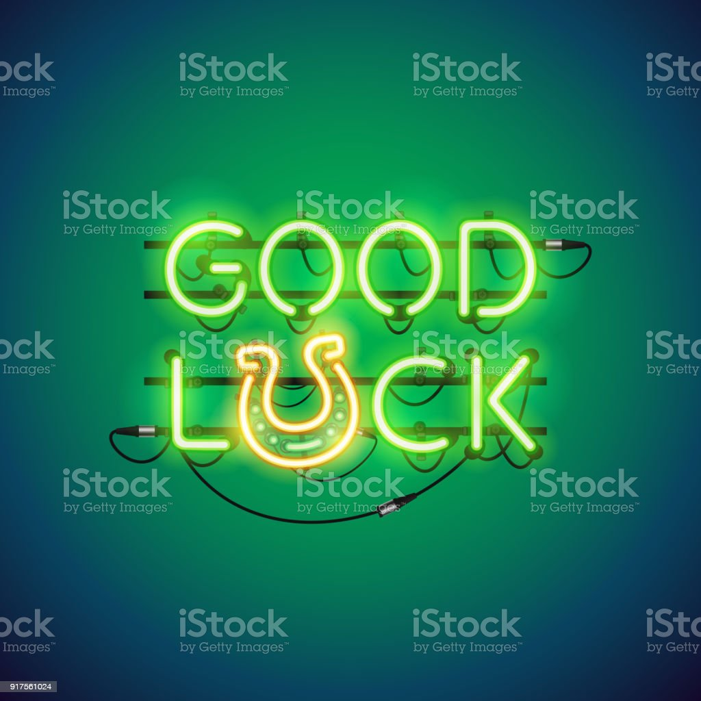 Good Luck Neon Sign vector art illustration