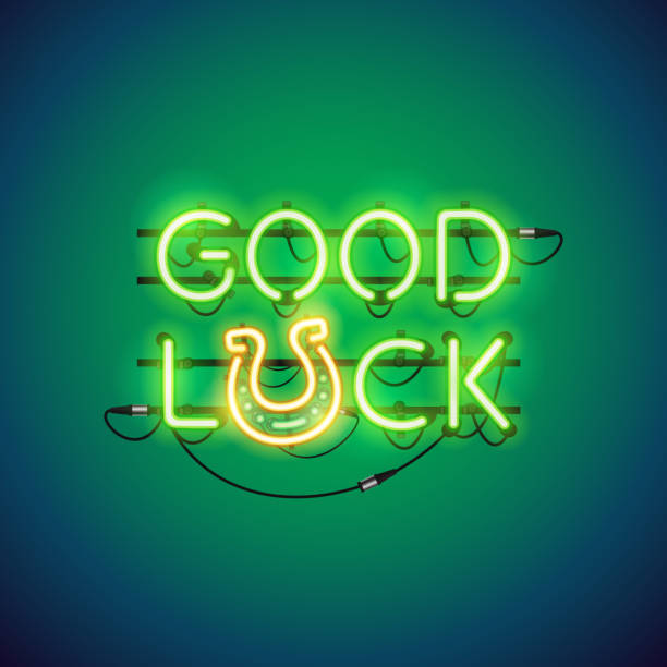 Good Luck Neon Sign vector art illustration