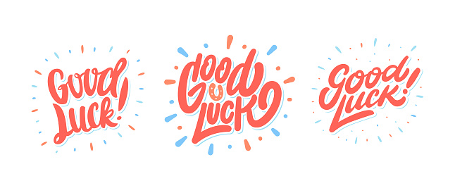 Good luck. Set of banners. Vector hand drawn illustration.