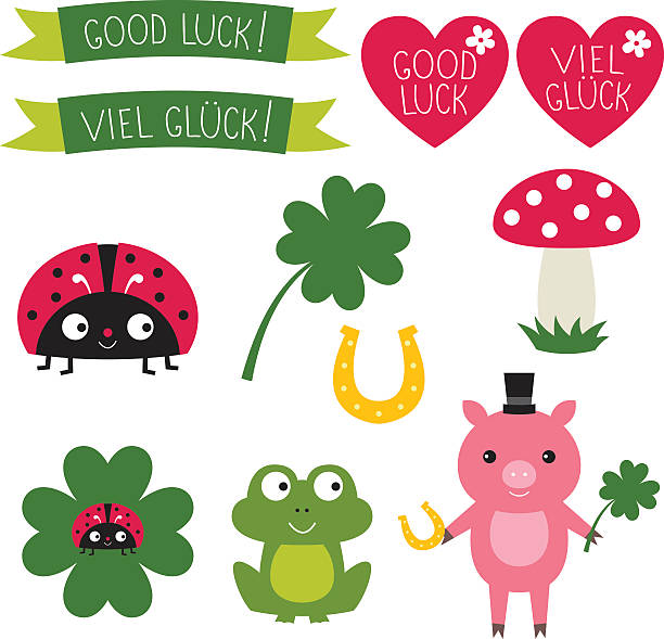 Good luck vector elements set. Text in English and German Good luck vector elements set. good luck charm stock illustrations