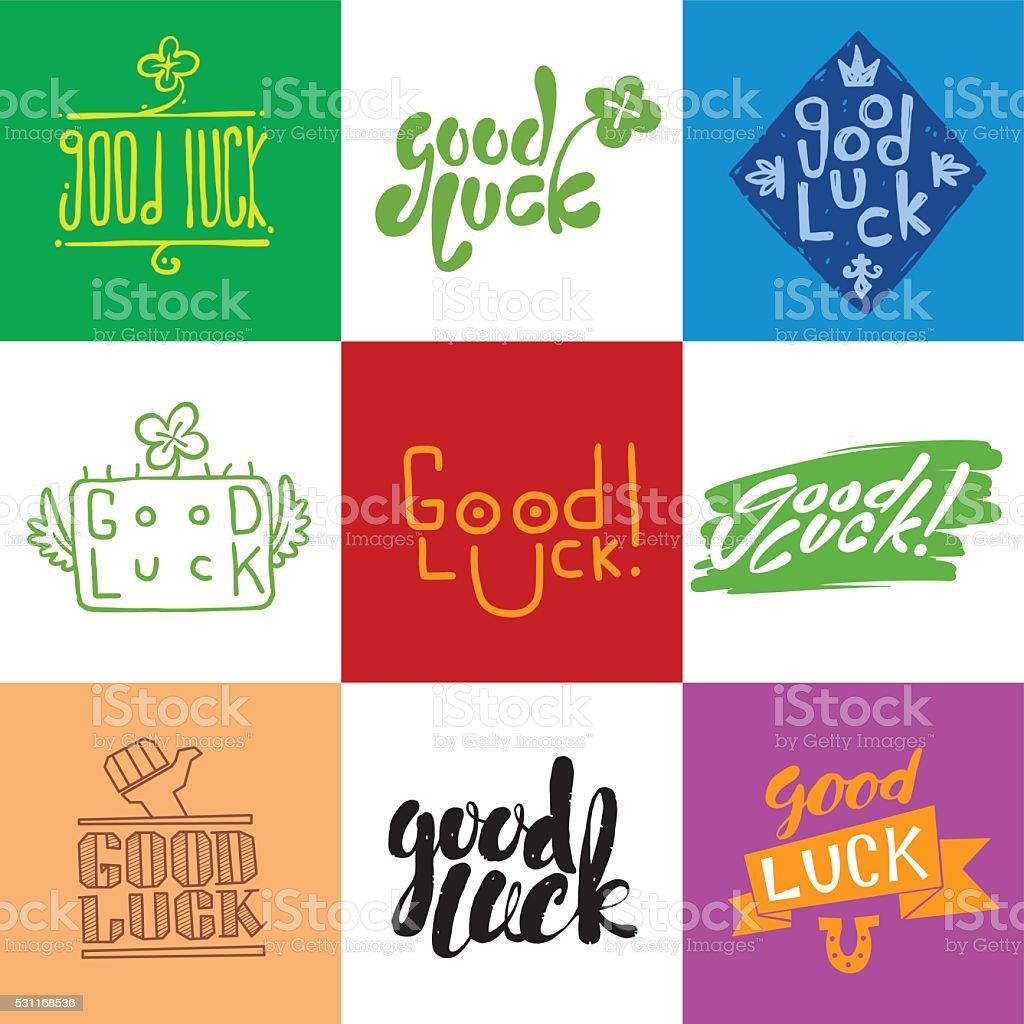 Bonne chance vector ensemble avec caractères en métal - Illustration vectorielle