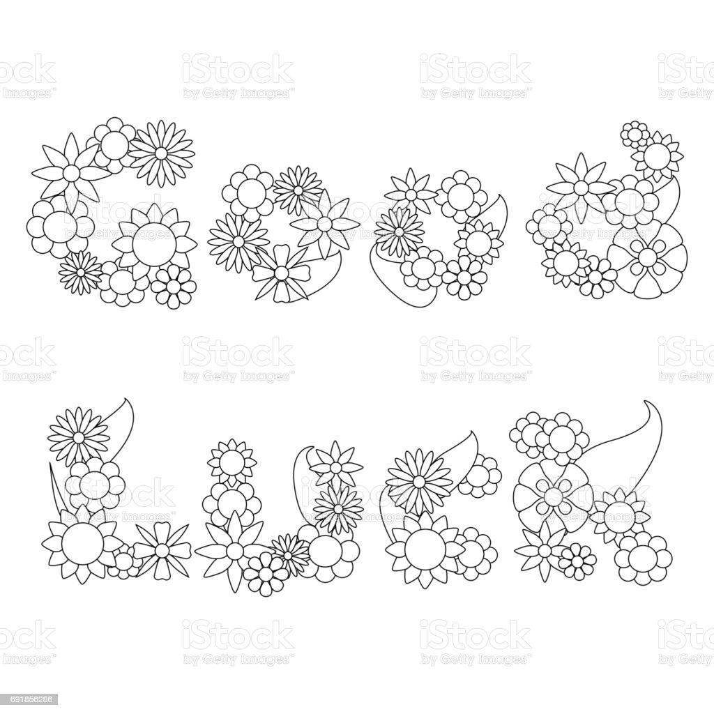 Ilustración de Buenas Palabras De Suerte Por Flores Vector Ornamento ...