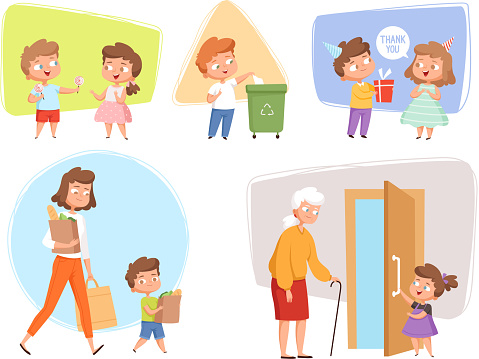 Good manners. Perfect behaving kids obedient peoples offers childrens talking with elder person vector characters