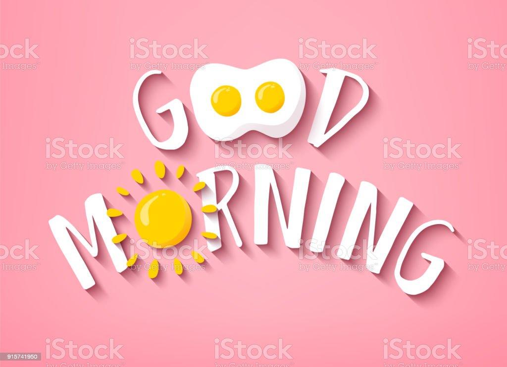 Bandera buena mañana con texto, sol y huevo frito sobre fondo rosa. Vector. - ilustración de arte vectorial
