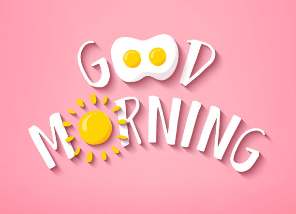 Good Morning banner with cute text, sun and fried egg on pink background. Vector. vector art illustration