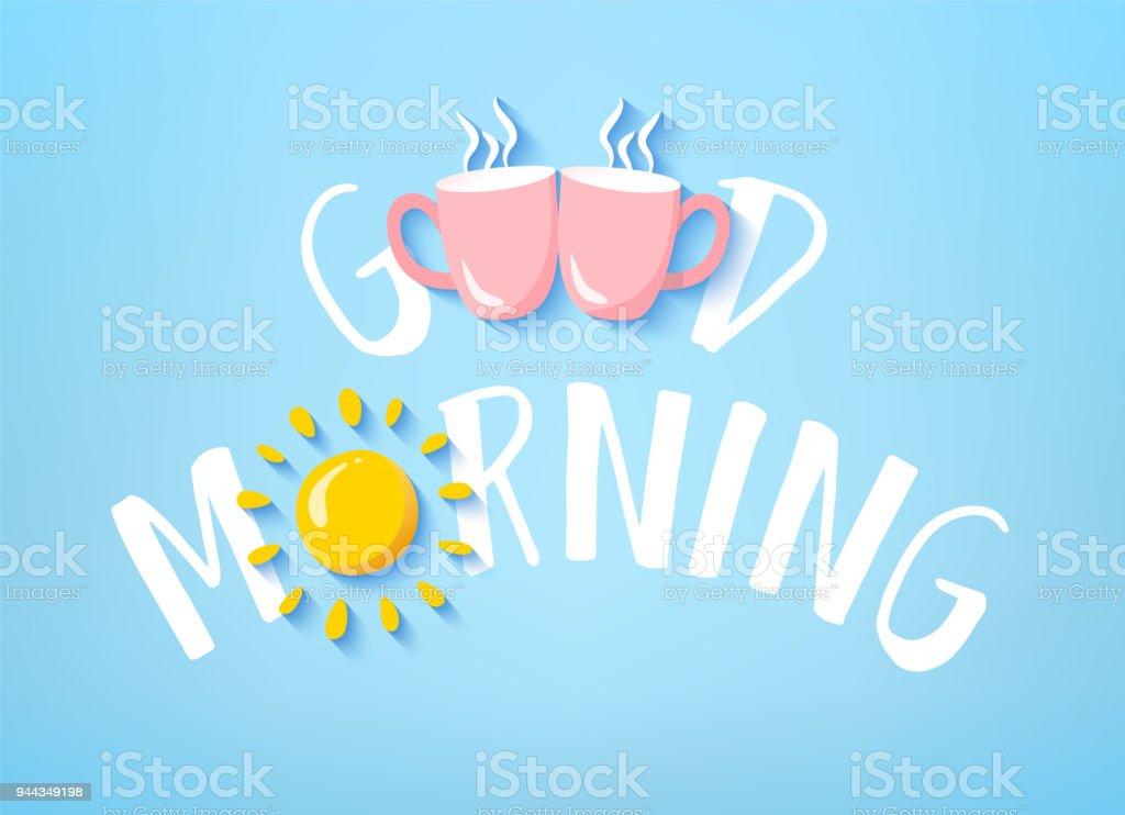 Bandera buena mañana con texto, dos rosa copas y sol en fondo azul. Tarjeta de vector. - ilustración de arte vectorial