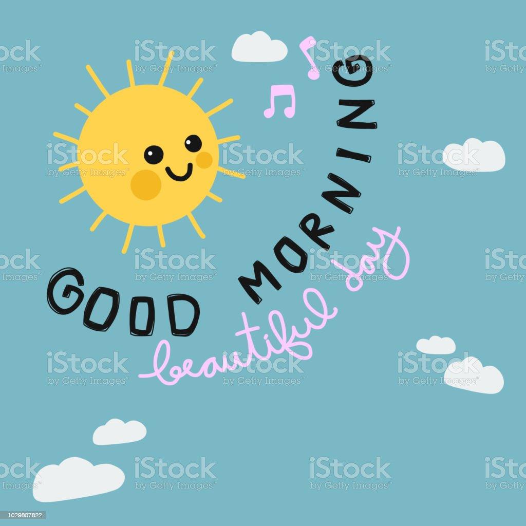 Schönen Guten Morgen Tag Sonne Lächeln Cartoon Doodle