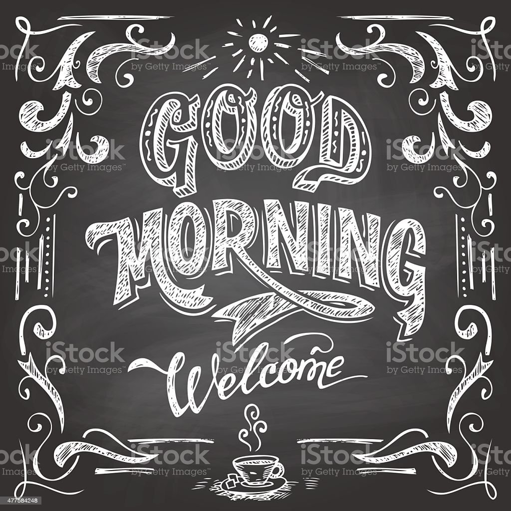 Good Morning cafe chalkboard vector art illustration