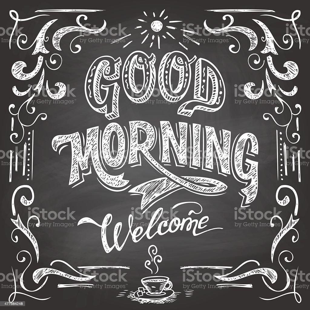 Good Morning cafe quadro-negro - ilustração de arte em vetor