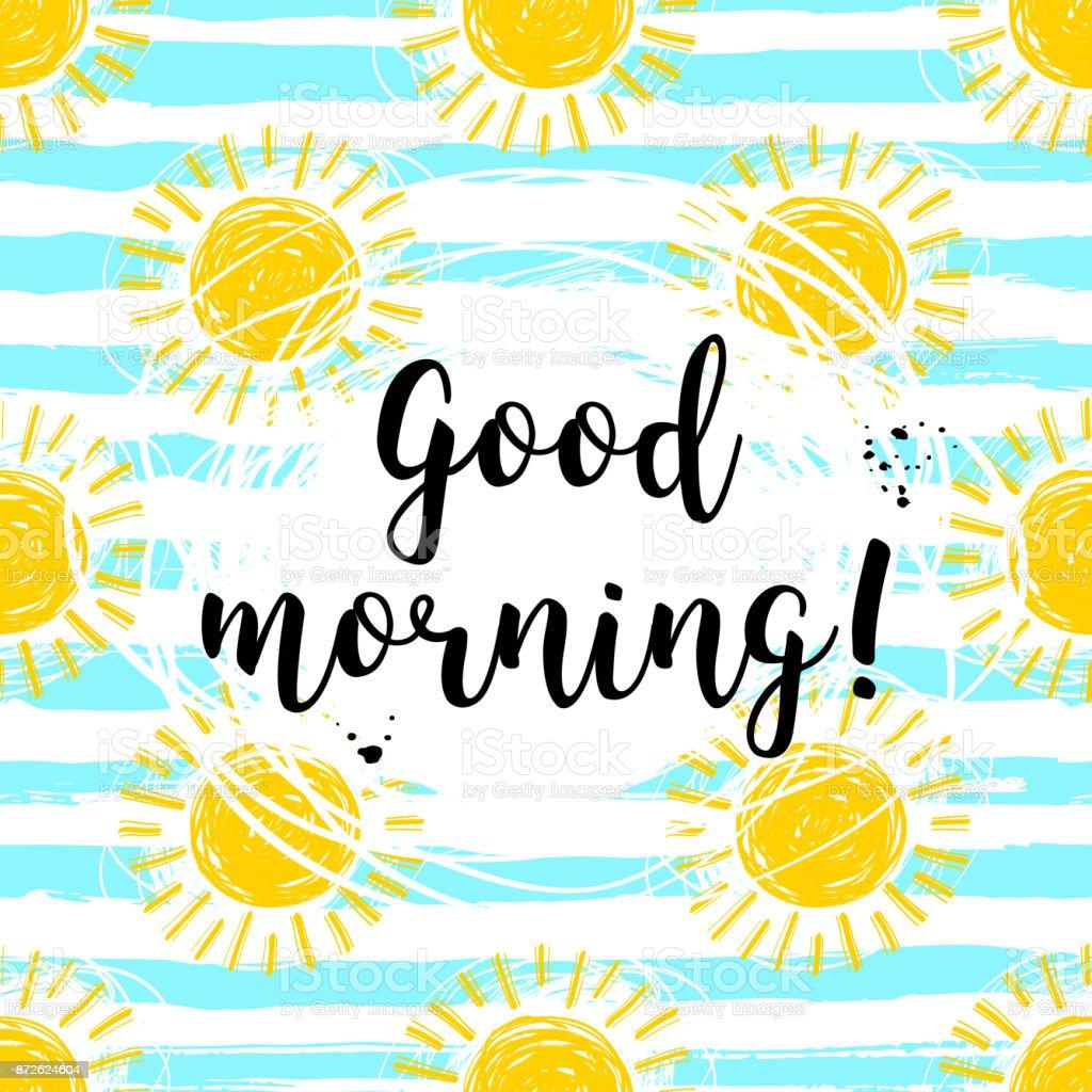Buenos días inscripción caligráfica y rayas dibujadas a mano amarillo soles - ilustración de arte vectorial