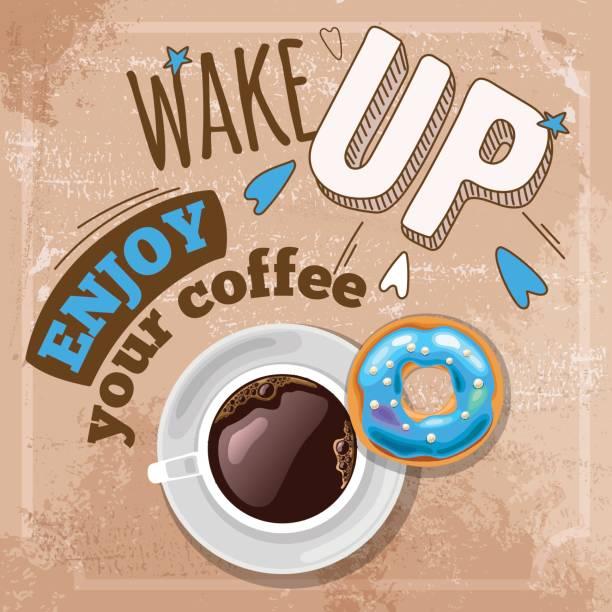guten morgen-konzept - tassenkuchen stock-grafiken, -clipart, -cartoons und -symbole
