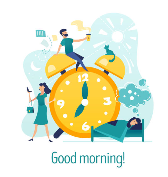Good morning. Creative concept with characters vector art illustration