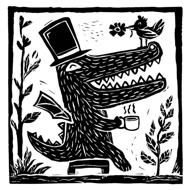 Good morning crocodile illustration art vector linocut printing linocut stock illustrations