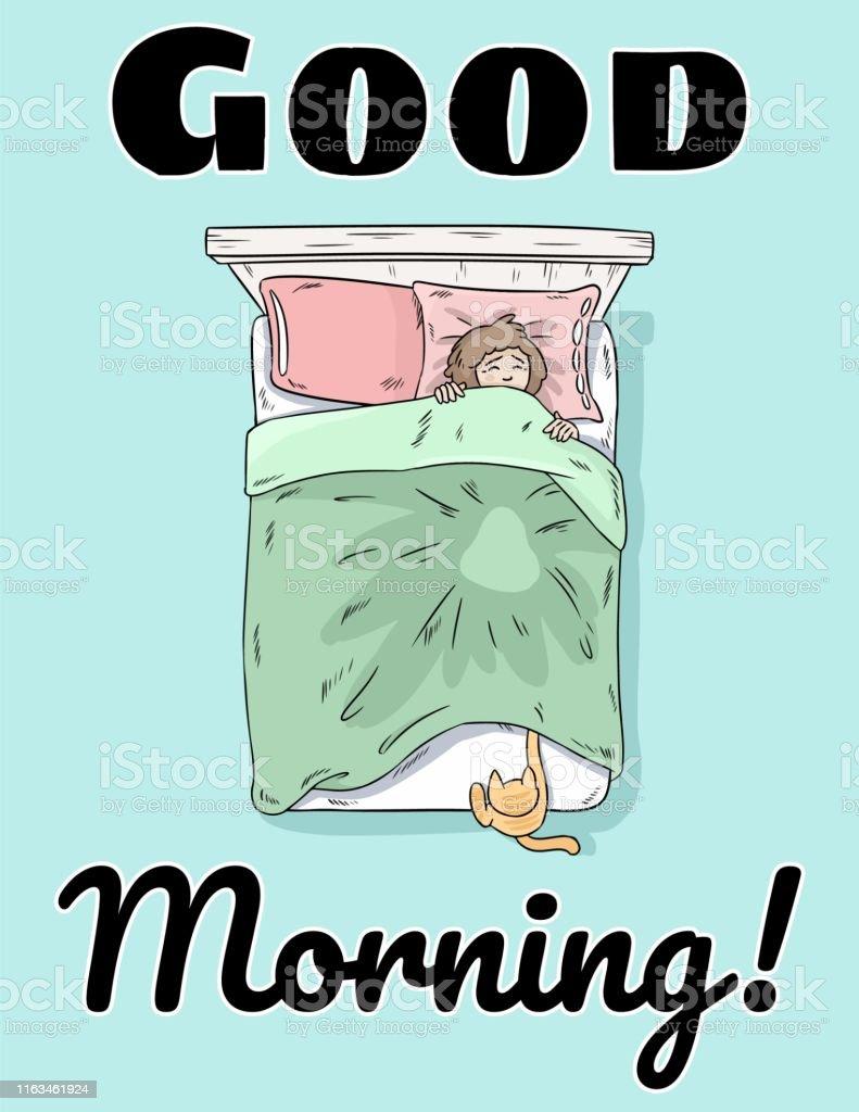 Guten Morgen Niedliche Postkarte Hand Gezeichnet Comicstil