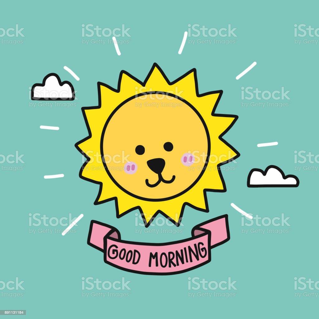 Guten Morgen Good Morning Buenos Dias Lied : 早上好可愛的太陽升起卡通向量插圖塗鴉風格 向量插圖及更多 一週 圖片 istock