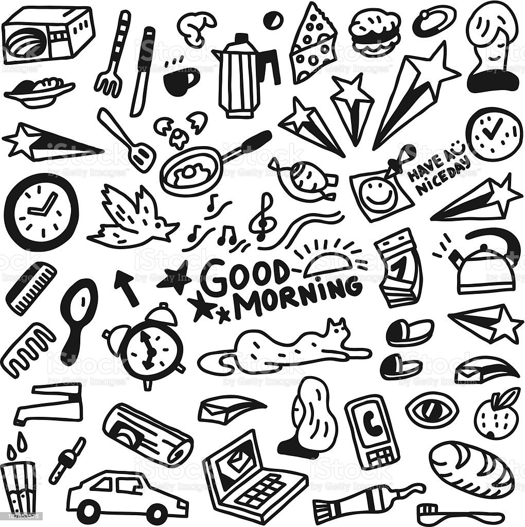 Good morning doodles vector art illustration