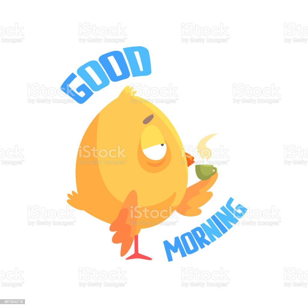 おはようございますコーヒーやお茶を飲んだ面白い漫画コミック鶏ベクトル