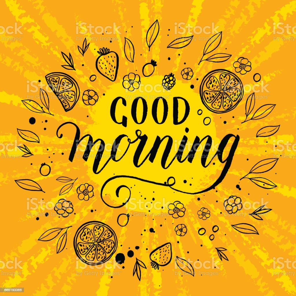 Good morning greeting card poster print vector background with hand good morning greeting card poster print vector background with hand lettering sun m4hsunfo
