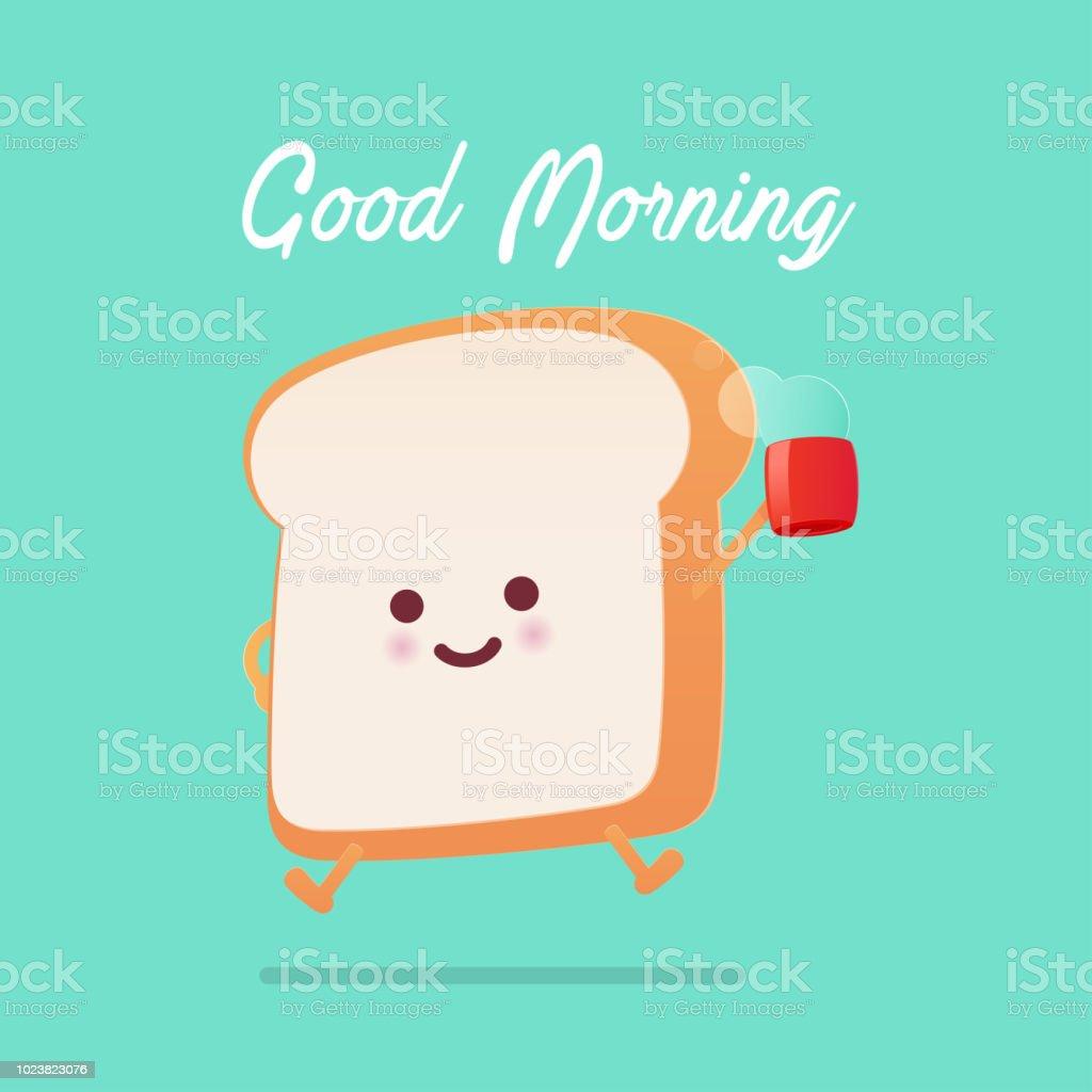 Good morning greeting on toasted bread cartoon against green good morning greeting on toasted bread cartoon against green background vector flat cartoon illustration royalty m4hsunfo
